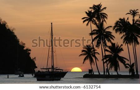 Sunset in Marigot Bay, St Lucia - stock photo