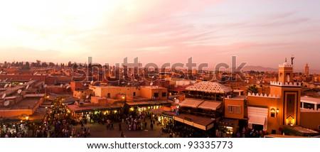 Sunset in Marrakesh, Morocco - stock photo