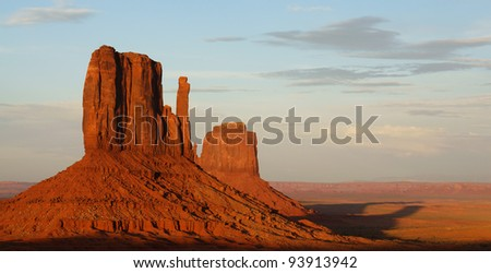 Sunset in Monument Valley, USA - stock photo