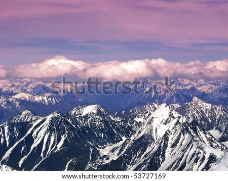 sunset in mountain - stock photo