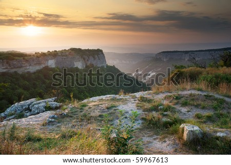 Sunset in mountain. Beautiful nature composition. - stock photo