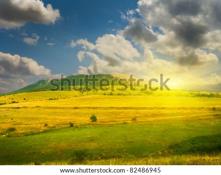 sunset in mountain. Nature composition. - stock photo