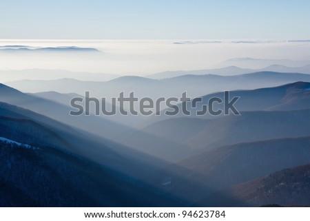 Sunset in mountains, winter, Carpathians - stock photo