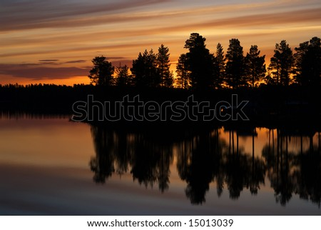 Sunset in northern Sweden, Lapland - stock photo