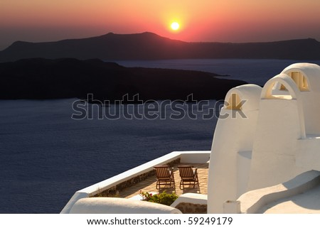 Sunset in Oia, Santorini - Greece - stock photo