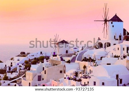 Sunset in Oia village on Santorini island, Greece