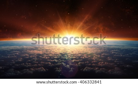 Sunset In Orbit - Galaxy element furnished by Nasa  - stock photo