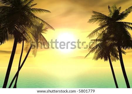 Sunset in paradise - stock photo