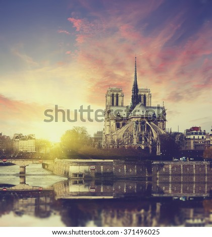 Sunset in Paris, France. Vintage style travel background - stock photo