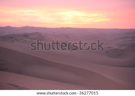 Sunset in Peru desert - stock photo