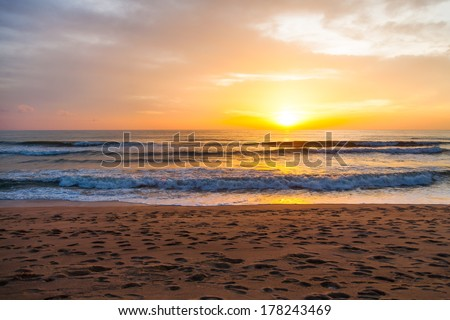 sunset in phuket - stock photo