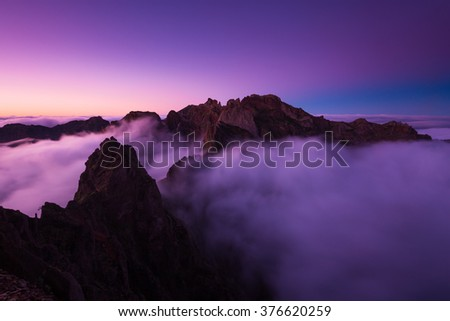 Sunset in Pico do Arieiro mountain, Madeira (Portugal)  - stock photo