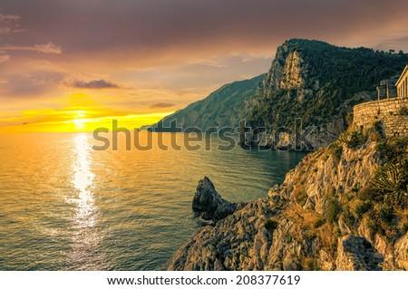Sunset in Porto Venere - stock photo