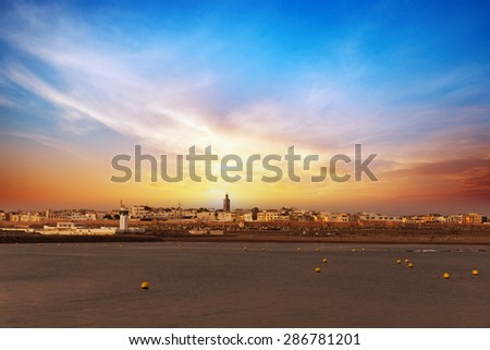 Sunset in Rabat, Morocco - stock photo