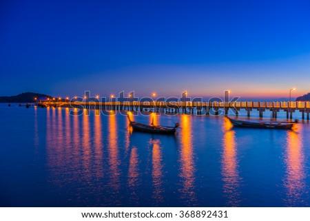 SUnset in Rawa pier  south Phuket i Thailand - stock photo