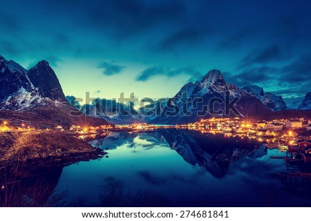 sunset  in Reine Village, Lofoten Islands, Norway - stock photo