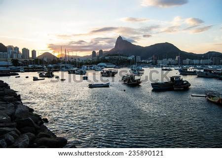 Sunset in Rio de Janeiro - stock photo