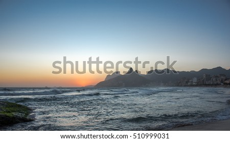 Sunset in Rio de Janeiro Ipanema Beach Brazil with Two Brothers (Dois Irmaos) Mountain