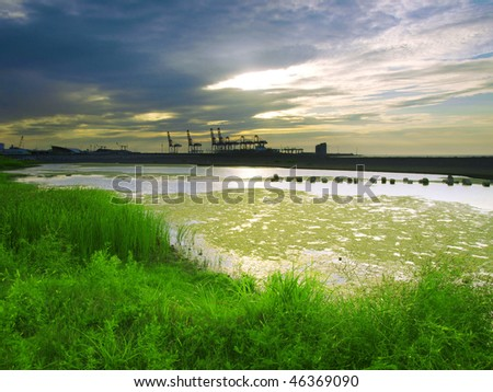 Sunset in riverside - stock photo