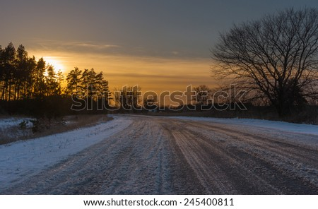 Sunset in rural Ukrainian country area