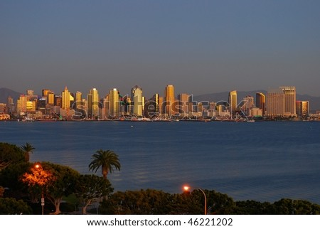 Sunset in San Diego - stock photo