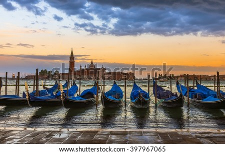 Sunset in San Marco square, Venice. Italy - stock photo