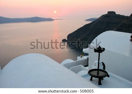 Sunset in Santorini - stock photo