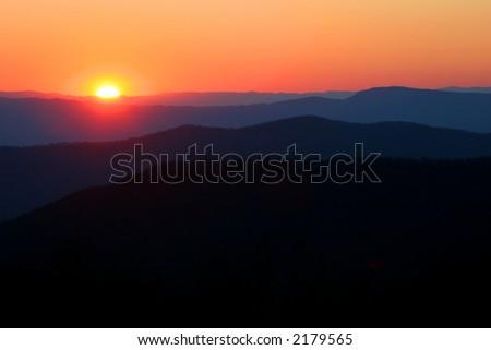 Sunset in Shenandoah - stock photo