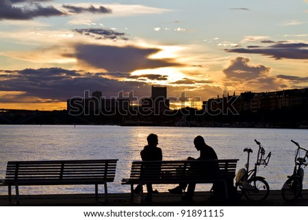 sunset in Stockholm - stock photo