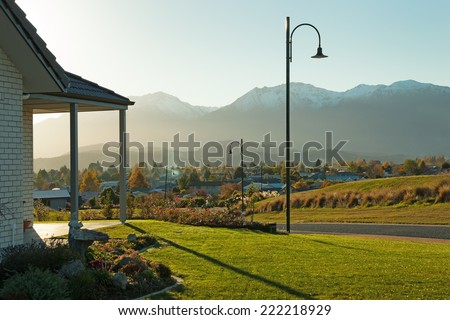 Sunset in Te Anau, South Island, New Zealand. - stock photo