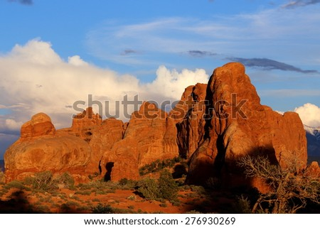 Sunset in the Arches National Park in Moab, Utah