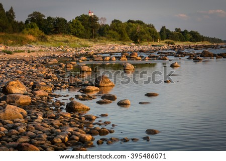 sunset in the Baltic,sea, - stock photo