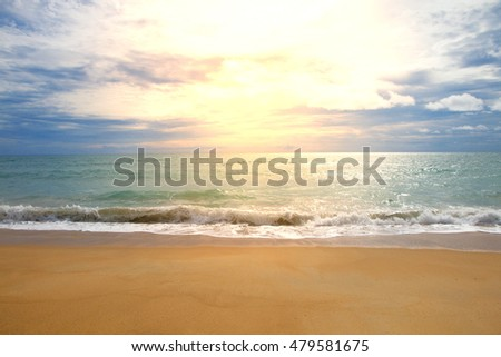 Sunset in the beach wave evening