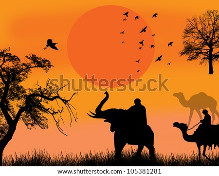 Sunset in the beautiful place with elephant and camels background illustration