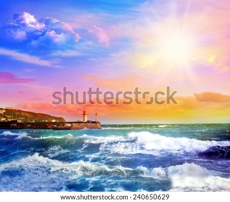 Sunset in the Black Sea. Yalta. Crimea.  - stock photo