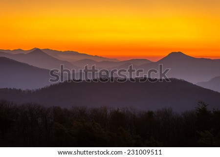 Sunset in the Blue Ridge Mountains of Tennessee at the Unaka Mountain Overlook.  - stock photo