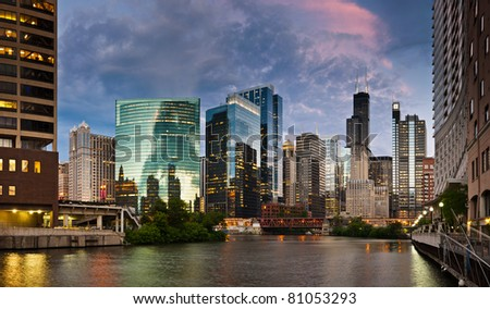 Sunset in the city of Chicago. - stock photo