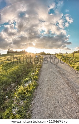 Sunset in the country - stock photo