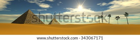 Sunset in the desert. Egyptian pyramids. Panarama desert. - stock photo