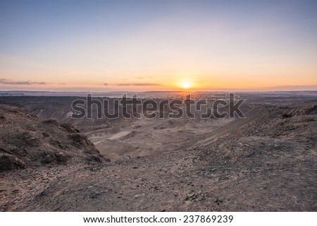 Sunset in the desert in Egypt - stock photo