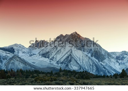 Sunset in the Eastern Sierra mountains, California, USA. - stock photo