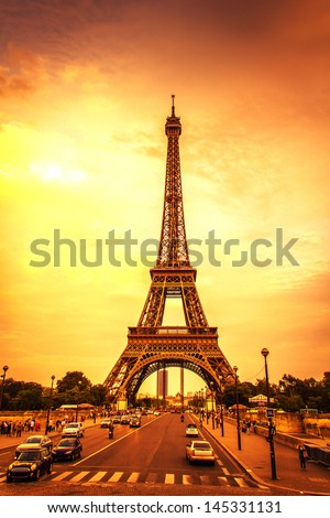Sunset in the Eiffel Tower - stock photo