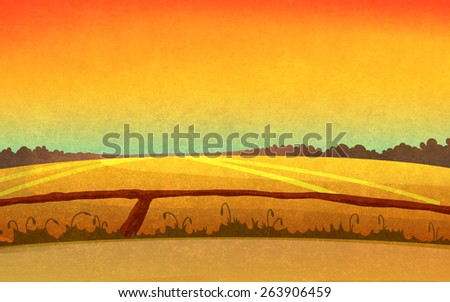 Sunset in the fields crossed by small paths. Landscape with red sky and dark brown forest silhouette in the distance. Digital background raster illustration. - stock photo