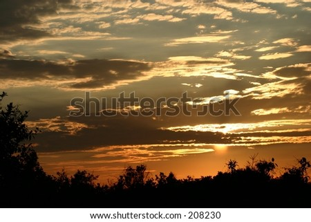 Sunset in the Florida Everglades. - stock photo