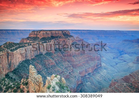 Sunset in the Grand Canyon, Arizona, USA. - stock photo
