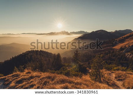Sunset in the grassy hills in autumn time
