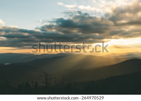 Sunset in the Great Smoky Mountains National Park in Tennessee