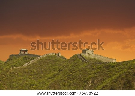 Sunset in the Great Wall, China - stock photo
