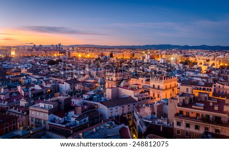 Sunset in the Historic Center of Valencia - stock photo