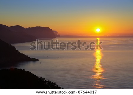 Sunset in the Majorca coast (Balearic Islands - Spain) - stock photo